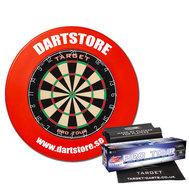 Dartstore Paket Target 2 med väggskydd, matta och 2 set pilar